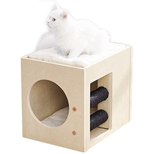 Pequeño Árbol de Gato Escalada Moda 2 Plataformas Caja de Criadero Juguete Con Cojín de Felpa Madera Natural Multifunción Rascador Posts SLONGS