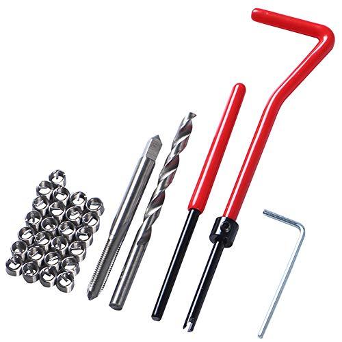 Almabner 30 Stück M5/M6/M8 Gewinde-Reparatur-Sets, Gewindehülsen-Schraubenschlüssel, Schneidwerkzeug, rotes Gewinde, Nicht Null, Wie abgebildet, m6