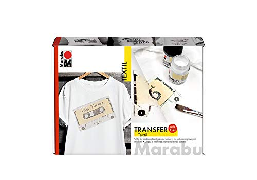 Oferta de Marabu- Set impresión láser claros, para el diseño de Ropa y Accesorios del hogar, Cada uno de 50 ml de Transferencia Textil y Protector, Pincel, raspador, Color carbón (1143000000080)