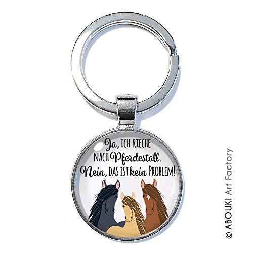 Pferdestall - ABOUKI | handgefertigter Glücksbringer Taschenanhänger Pferde-Schlüsselanhänger mit Spruch