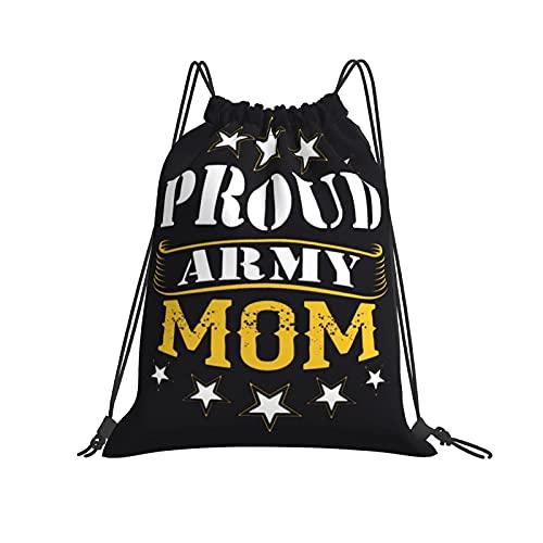 Proud Army Mom - Zaino impermeabile con coulisse, stampato e durevole