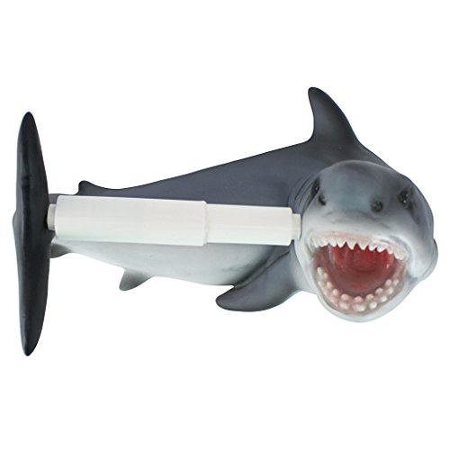'Interpret Design Toscano Shark Attack Badezimmer WC-Papier Halter, mehrfarbig, 15x 28x 19cm