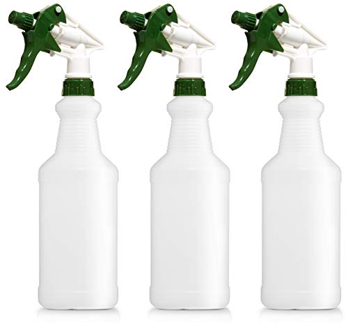 Empty Plastic Spray Bottles, 16 Ounce, Pack of 3, Professional Chemical Resistant, Heavy Duty, Fully Adjustable Head Sprayer