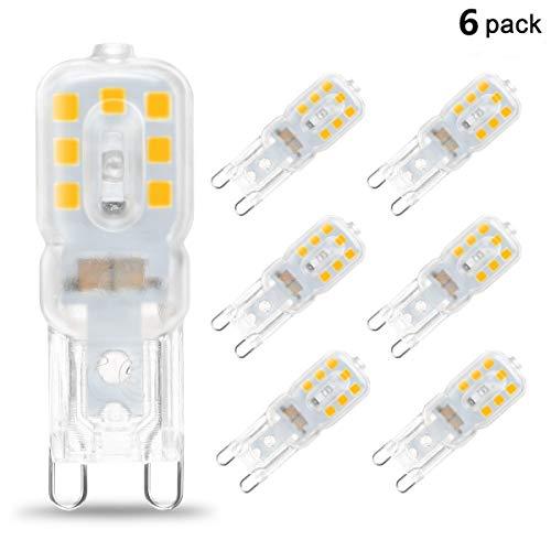 KINGSO 6x G9 LED Glühbirne Warmweiß 5W 230V LED G9 Leuchtmittel ersetz 40W Halogen kleine Glühbirne 2835 leds geeignet für Büro, Wohnzimmer, Geschäft Nicht dimmbar