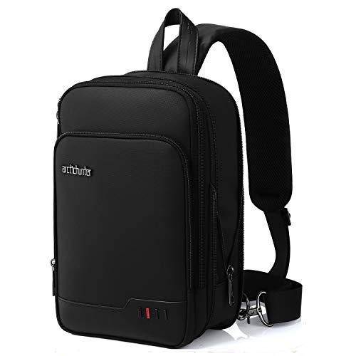ボディバッグ ショルダーバッグ 斜め掛けバッグ メンズ 3way 大容量 8L拡容可能 USBポート付き 撥水加工 軽量 iPad mini収納可能 通学 通勤 旅行 出張 アウトドアに最適 MERISNY (ブラック)