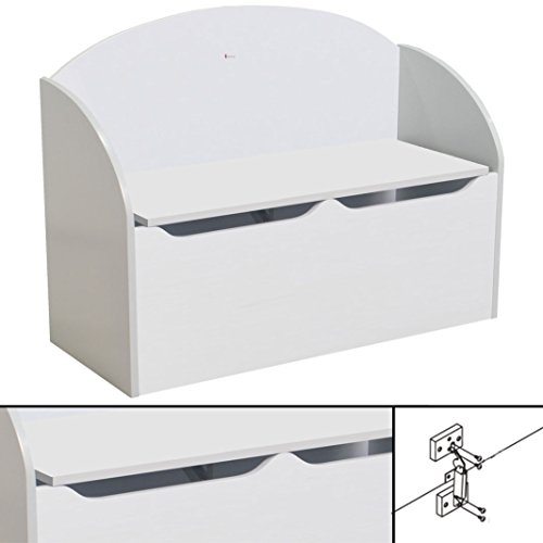 habeig KINDERBANK weiß ~ 77x55x30cm Soft Close Bank Kindermöbel Stuhl Sitzmöbel Truhe