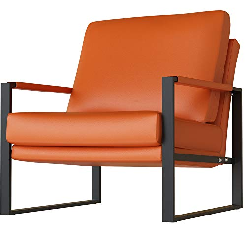 HOOSENG Living Room Accent Armchair-Leather Single Sofa Chair with Extra-Large Ergonomic Cushion, Sturdy Metal Frame w/Anti-Scratch Foot Mats-Orange