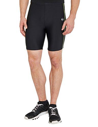 Ultrasport Pantalones cortos de correr, Negro/Amarillo neón, 2XL