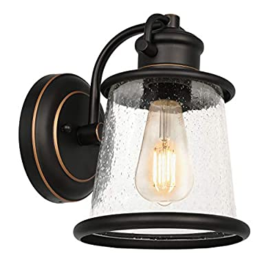 Hykolity Outdoor Indoor Wall Sconce, LED Bulb Included, Oil Rubbed Bronze Wall Light Fixtures,Architectural Wall Sconce with Clear Seeded Glass Shade for Entryway, Porch, Doorway, ETL Listed