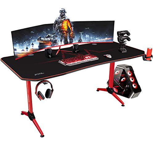 KaiMeng Gaming Desk 63' L x 30' W Racing Style Gamer Computer Desk Free Full Mouse Pad Modern Carbon Fiber Surface Ergonomic, T-Shaped Y Leg Office Room Game Table Workstation, with Handle Rack (Red)