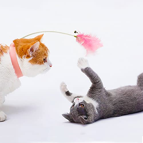 Nepfaivy Interaktives Katzenspielzeug mit Feder und Silicone Halsband, Federspielzeug mit Kleiner Glocke und Sprungfeder wie Katzenangel, Automatisches Feder Teaser Spielzeug für Katzen