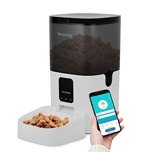 Wodondog Comedero Automático para Perro y Gato con Grabación de Voz, con App Control,Detección de Infrarrojos, Consumo de Energía Bajo,6L