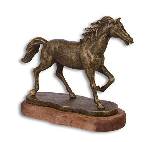 Deko Figur Skulptur Pferd auf Sockel Gußeisen 23,5x19,3 cm
