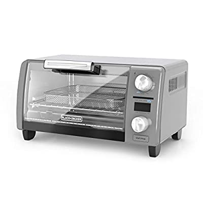 "BLACK+DECKER TOD1775G Crisp N Bake Air Fry Digital Toaster Oven, 9"" Pizza or 4 Slices of Bread, Gray (Renewed)"