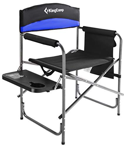 KingCamp Camping de Servicio Pesado Silla Plegable Director Asiento Acolchado de Gran tamaño con Mesa Lateral y Bolsa de Almacenamiento Admite 180 kg
