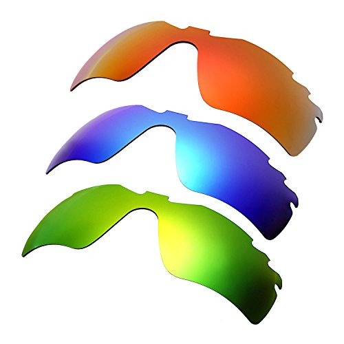 HKUCO Plus Mens Replacement Lenses For Oakley Radar Path-Vented Red/Blue/Emerald Green Sunglasses