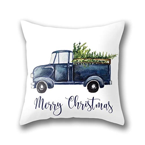 GARDEAR Blue Christmas Truck Pillow Cover Standard Throw Pillowcase 18X18 Inch