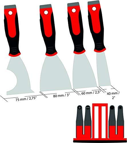 Bitspachtel Spachtel mit 4 Bits Fugenspachtel mit Bit - rostfreier Stahl [Edelstahl] - 2K Handgriff - Profi-Qualität 4-er Set 40 + 60 + 80 + 75 mm Multifunktionsspachtel