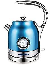 Elektrische Waterkoker, 1500W Roestvrijstalen Retro-Waterkoker Met Lange Steel 1.8L Snelkokende Waterkoker Met Temperatuurmeter, Automatische Uitschakeling En Droogkookbeveiliging,Blue