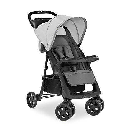 Hauck Shopper Neo II Buggy bis 25 kg mit Liegefunktion ab Geburt, klein zusammenfaltbar, Einhand-Faltmechanismus, leicht, 2 Getränkehalter, großer Korb - grau