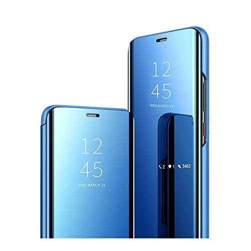 58I Clear View Standing Cover für das Samsung Galaxy A9 2018,PC(Hard Shell) Samsung A9 2018 Handy Hülle Cover Schutz Echtleder Tasche mit Standfunktion 360 Grad hülle (Samsung Galaxy A9 2018, Blau)