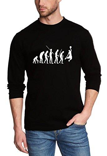 Coole Fun T-Shirts Evolution Basketball T-shirt à manches longues pour homme Noir Noir à manches longues , Noir(schwarz-langarm), Medium