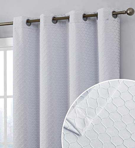 HLC.ME Siena Decorative 100% Blackout Thermal Insulated with Liner Window Curtain Floor Length Grommet Panels for Living Room & Bedroom - Energy Savings & Soundproof, Set of 2 (50 x 84 inch, White)