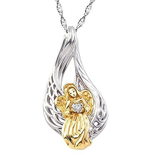 VAWAA Exquisito Collar de ángel para Mujer Encanto de Dos Tonos de Cristal de Hadas Collares de Boda Colgantes alas joyería Regalo de Amante de Navidad