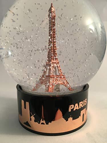 VIANAYA Boule de Neige Tour Eiffel - Taille Moyenne 10CM - Socle Noir en Plastique de qualité avec Skyline cuivre- Globe en Verre avec Tour Eiffel cuivre - Neige Blanche Classique - Made in France