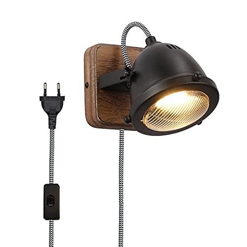 BarcelonaLED Aplique de Pared Vintage Madera Foco Orientable Negro con Cable Enchufe Interruptor y Bombilla GU10 5W para Salón Mesa Bar