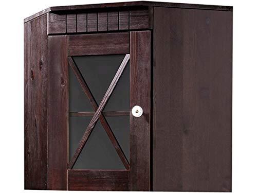Loft24 Hängeschrank Küche Kiefer massiv Oberschrank Küchenschrank Ecke Wandschrank Landhaus Glastür Dunkelbraun 70 x 46 x 55 cm