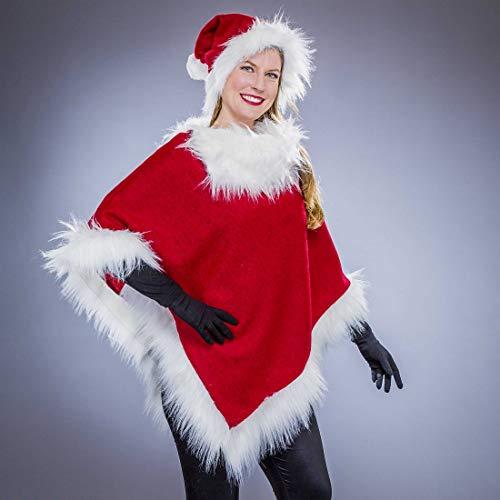 Amakando Festliches Weihnachtskostüm für Frauen / Rot-Weiß / Miss Santa Damen-Kostüm bestehend aus Gewand und Mütze / Perfekt geeignet zu Weihnachtsfeier & Weihnachten