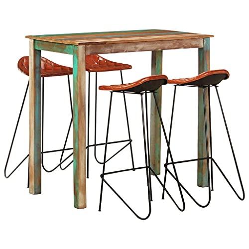 N&O Renovation House 5-teiliges Bartisch-Set mit 2 Barhockern Frühstücks-Bartisch und Hocker-Set für Küche Wohnzimmer Partyraum Industrielles Massivholz und Echtlederbarbar