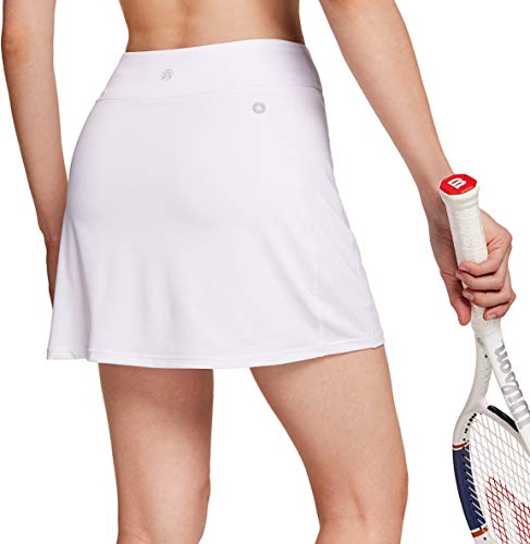 TSLA Women's Athletic Skorts Lightweight Active Tennis Skirts, Workout Running Golf Skirt with Pockets Built-in Shorts, Active Skorts White, Small