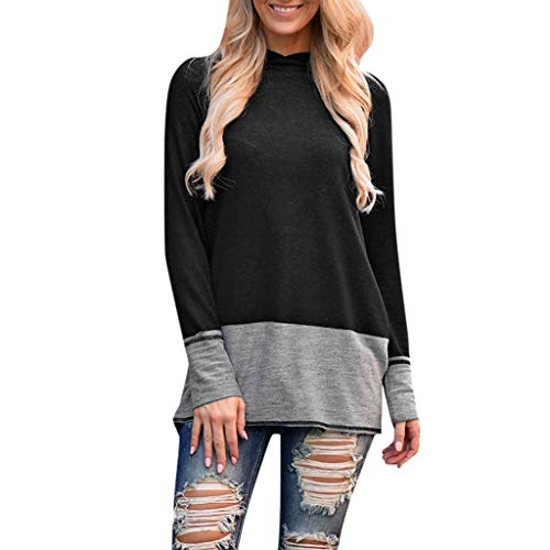 VECDUO Women's Hoodies, Casual Color Block Sweatshirt Full Sleeve Loose Pullover Tops Black