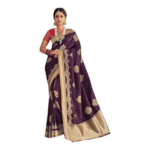 ETHNIC EMPORIUM Purple Designer New Party Wear Banarasi Seide Saree Sari mit Bluse Stück traditionelle ethnische Kleidung Kleid für Frauen Trendy Indian Woman Indian 8167