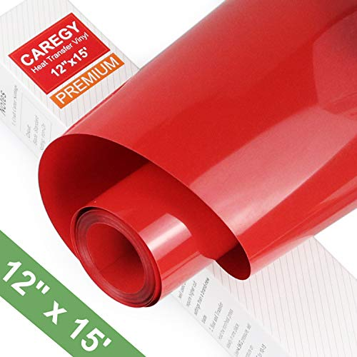 HTV Iron on Vinyl 12inch x15 Feet Roll by CAREGY Easy to Cut & Weed Iron on Heat Transfer Vinyl DIY Heat Press Design for T-Shirts Glossy Red