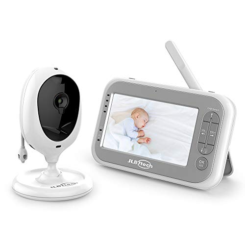Video Baby Monitor,JLB7tech Baby Monitor with 1 Camera and Audio,4.3'' LCD Screen, Infrared Night Vision,Two-Way Audio,Temperature Monitoring,Power Saving Mode,Zoom in,Support Multi Camera Monitors