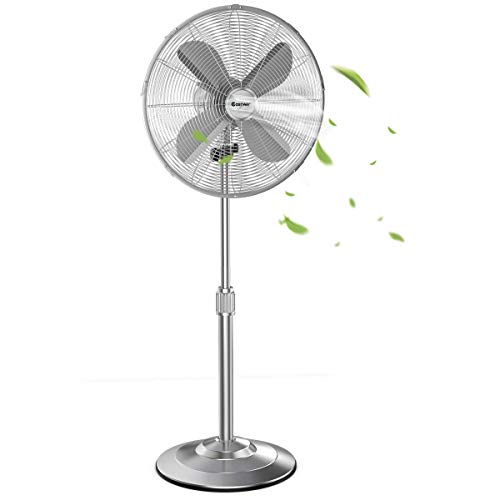 COSTWAY Metal Pedestal Fan, 16-Inch Quiet Oscillating Standing Fan with Height Adjustable, 3 Wind Speed, 4 Blades, Widespread Stand Floor Fan for Home, Office, Shop (Brushed Nickel Finish)