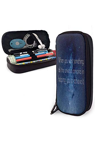 """Pencil case Large Capacity Pencil case """"When You Want Something All The Universe conspires in Helping You to Achieve it.""""— Paulo Coelho"""" Applicable to Anyone 3.54x7.87x1.57Inches"""