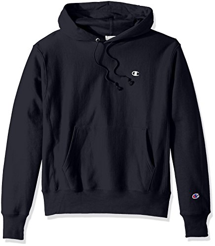 Champion LIFE Men's Reverse Weave Pullover Hoodie, Navy/Left Chest C Logo, Medium