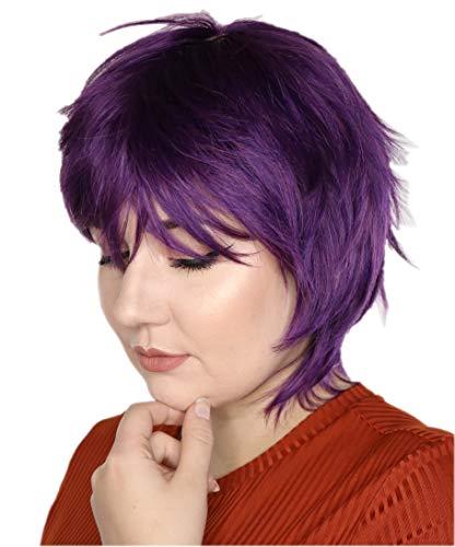 Prettyland Perruque violet foncé Courte Sauvage Lisse Gothique Travesti Manga Cosplay C133