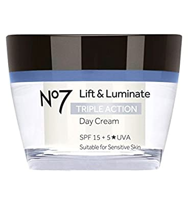 Boots No7 Lift & Luminate TRIPLE ACTION Day Cream 50ml 15 SPF + 5*UVA - Suitable for sensitive skin from