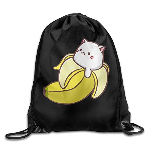 Yuanmeiju Unisex Bolsos con cordón Bananya Baby Cat Beam Mouth Portable Backpack Gymsack color2