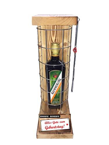 * Alles Gute zum Geburtstag Eiserne Reserve mit einer Flasche Kümmerling Kräuterlikör 0,50L incl. Bügelsäge zum aufschneiden des Gitter -Die Geschenkidee