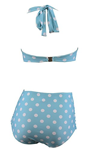 Aloha-Beachwear Polka Dots Vitage Look High Waisted Damen Neckholder Bikini A1061, gepunktet (L / 40 / UK 14, Türkis / Weiss) - 3