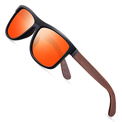 wearPro Sonnenbrille Herren Polarisierte Walnussholz Holz Männer Frauen Sonnenbrillen UV400 Mode für das Reisen mit polarisierten Gläsern W1003 (Orange)