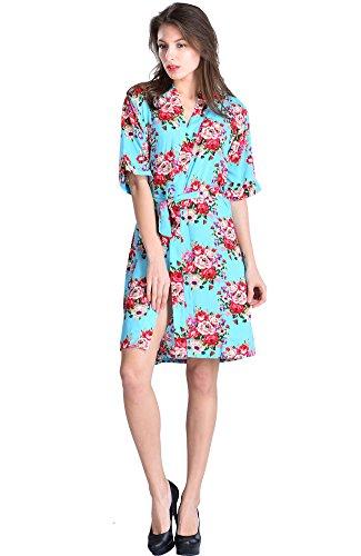 Mr & Mrs Right Damen Kimono Bademantel mit Blumenmuster aus Baumwolle für Braut und Brautjungfer, für Hochzeiten und Brautpartys. - - Large