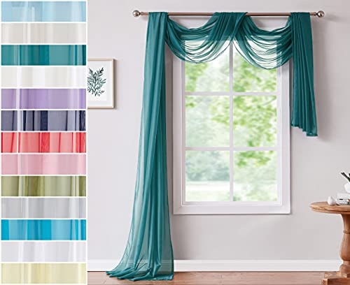 Red Co. Semi Sheer Grey Teal Window Scarf, 56 by 216 Inches Long, Decorative Curtain Accent Window Valance