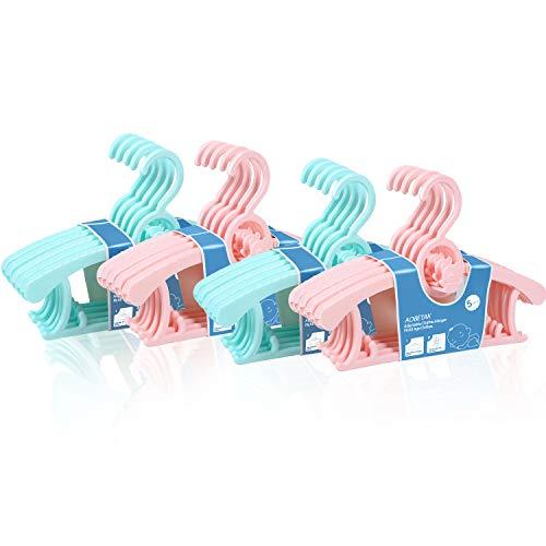 Perchas Para Bebé Adultos Para Ropa Faldas Y Pinzas, Paquete De 20 Aobetak Percha Antideslizantes De Plástico Extensible Para Bebés, Niños Pequeñas, Niña, Infantiles, Rosa Y Azul, 28cm-37cm